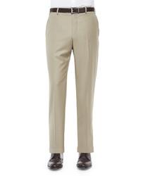 Zanella Parker Platinum Flat Front Super 150s Trousers Khaki