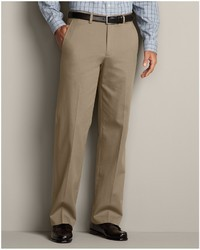 Eddie Bauer Performance Dress Flat Front Khaki Pants Relaxed Fit