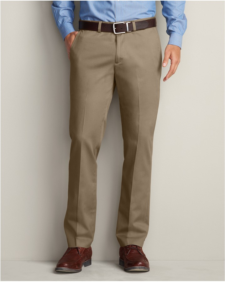 90a8178481 $70, Eddie Bauer Winkle Free Slim Fit Flat Front Performance Dress Khaki  Pants