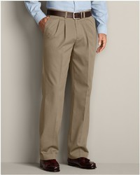 Eddie Bauer Wrinkle Free Relaxed Fit Pleated Performance Dress Khaki Pants