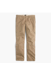 Khaki Embroidered Chinos