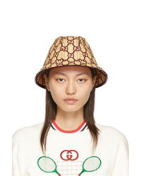 Gucci Beige And Burgundy Raffia Gg Fedora