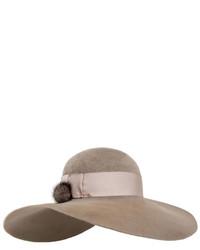 Eugenia Kim Honey Velour Wide Brim Hat W Fur Pom Pom Brown