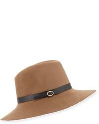Inverni Leather Strap Felt Fedora Hat