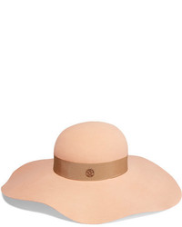 Maison Michel Lucia Wide Brim Rabbit Felt Hat Beige