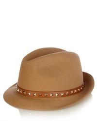 Valentino Rockstud Fur Felt Trilby Hat