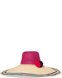 Khaki Horizontal Striped Straw Hat