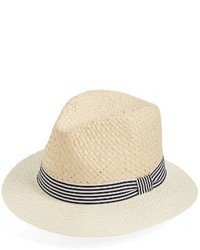 David & Young Stripe Band Fedora Beige