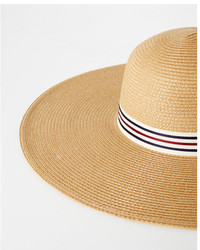 Express Stripe Band Solid Straw Hat