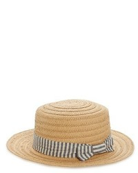Stripe Band Straw Boater Hat Beige