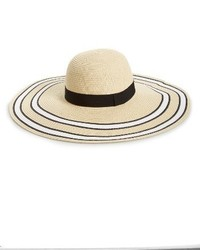 Stripe Floppy Brim Straw Hat Beige