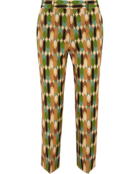 Prada Cropped Printed Wool Blend Twill Straight Leg Pants