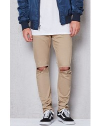 Pacsun Skinny Ripped Tiger Eyes Stretch Jeans