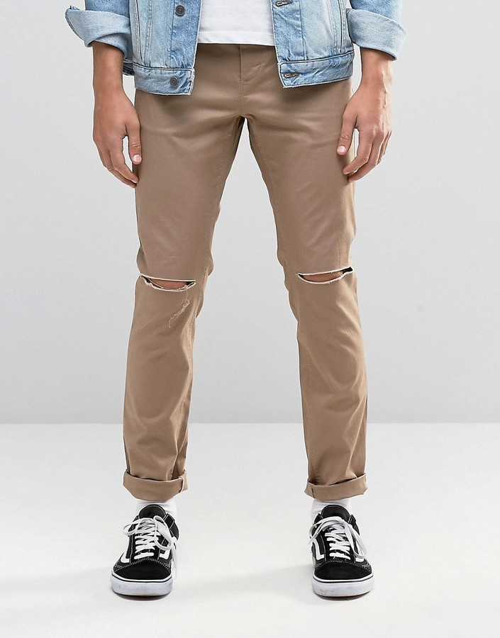 ... Khaki Ripped Jeans Asos Skinny Cotton Pants In Stone With Knee Rip ...