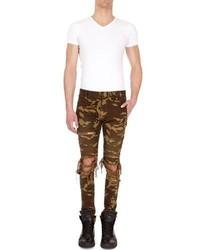 Balmain Distressed Camo Moto Skinny Jeans