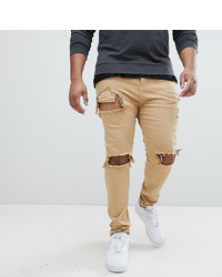 Sixth June Skinny Fit Jeans In Stone With Distressing To Asos