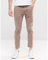 Asos Brand Skinny Cropped Jeans With Extreme Knee Rips In Light Brown