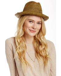 Flora Bella Arden Raffia Leather Trim Fedora