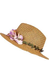 River Island Beige Floral Trim Straw Fedora Hat