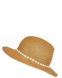 River Island Beige Straw Daisy Trim Fedora Hat