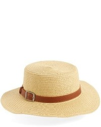 Buckle straw boater hat beige medium 4154461