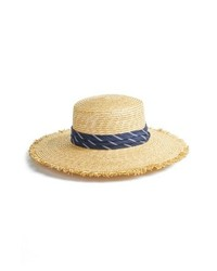 BCBGMAXAZRIA Denim Banded Straw Boater Hat