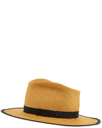 Gladys tamez trimmed straw hat cafe medium 533756
