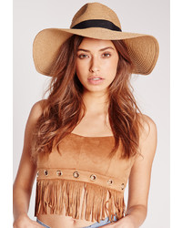 Missguided Oversized Straw Fedora Nude