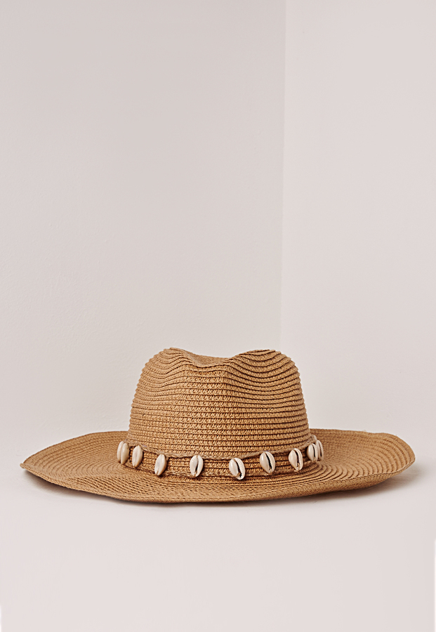 Missguided Shell Trim Straw Cowboy Hat Tan