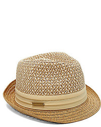 ... Vince Camuto Patterned Straw Fedora Hat ... fadece8f885