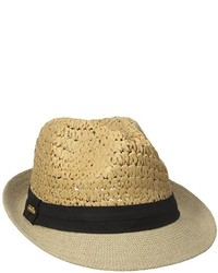 Steve Madden Two Weave Banded Straw Panama Hat