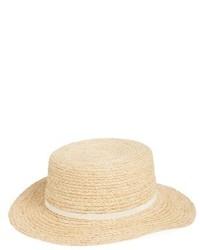 Straw Boater Hat Beige