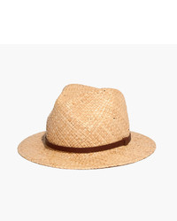 Madewell Straw Fedora Hat With Leather Band