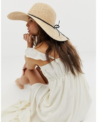 ASOS DESIGN Straw Floppy Hat With Plait Braid And Size Adjuster