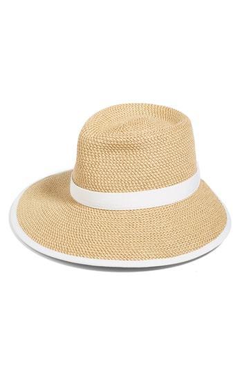 Sun Crest Packable Hybrid Fedora Visor. Khaki Straw Hat by Eric Javits b391fa9fc4b