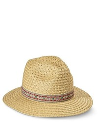 Mossimo Supply Co Woven Straw Fedora With Aztec Print Ribbon Sash Natural Supply Co