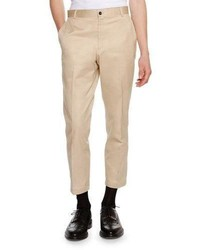 Thom Browne Cropped Twill Chino Pants Khaki