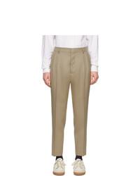 AMI Alexandre Mattiussi Beige Wool Pleated Trousers