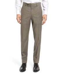 Ted Baker London Jerome Flat Front Solid Wool Cotton Trousers