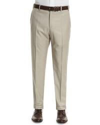 Zanella Parker Flat Front Wool Trousers Beige