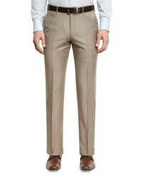Sharkskin wool flat front trousers tan medium 1161122