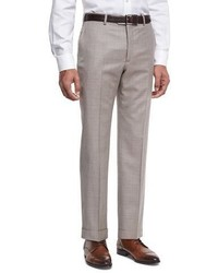 Armani Collezioni Wool Textured Trousers Light Tan