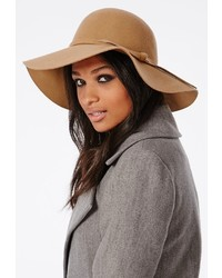 Missguided Dory Bow Detail Floppy Hat Camel
