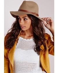 Missguided Premium Wool Camel Fedora