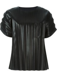 Leather Crew-neck T-shirt