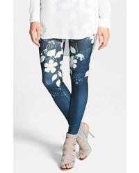 Leggings con print de flores azul marino