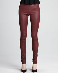 Leggings de cuero burdeos de Theory