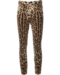 Leggings de leopardo marrónes de Dolce & Gabbana