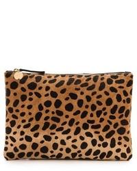 Leopard Suede Clutch