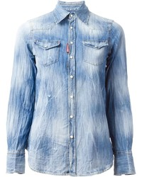 Dsquared2 distressed denim shirt medium 173655